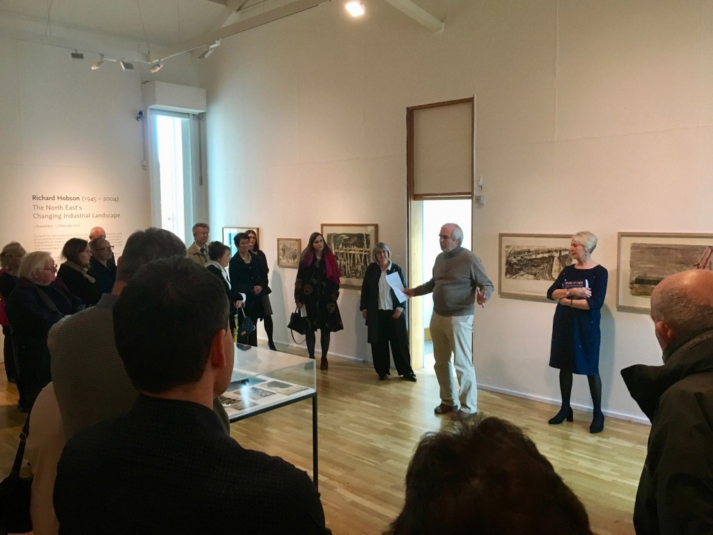 Bob McManners and Gillian Wales speaking about Richard Hobson's work at the opening of the exhibition at Laing Art Gallery