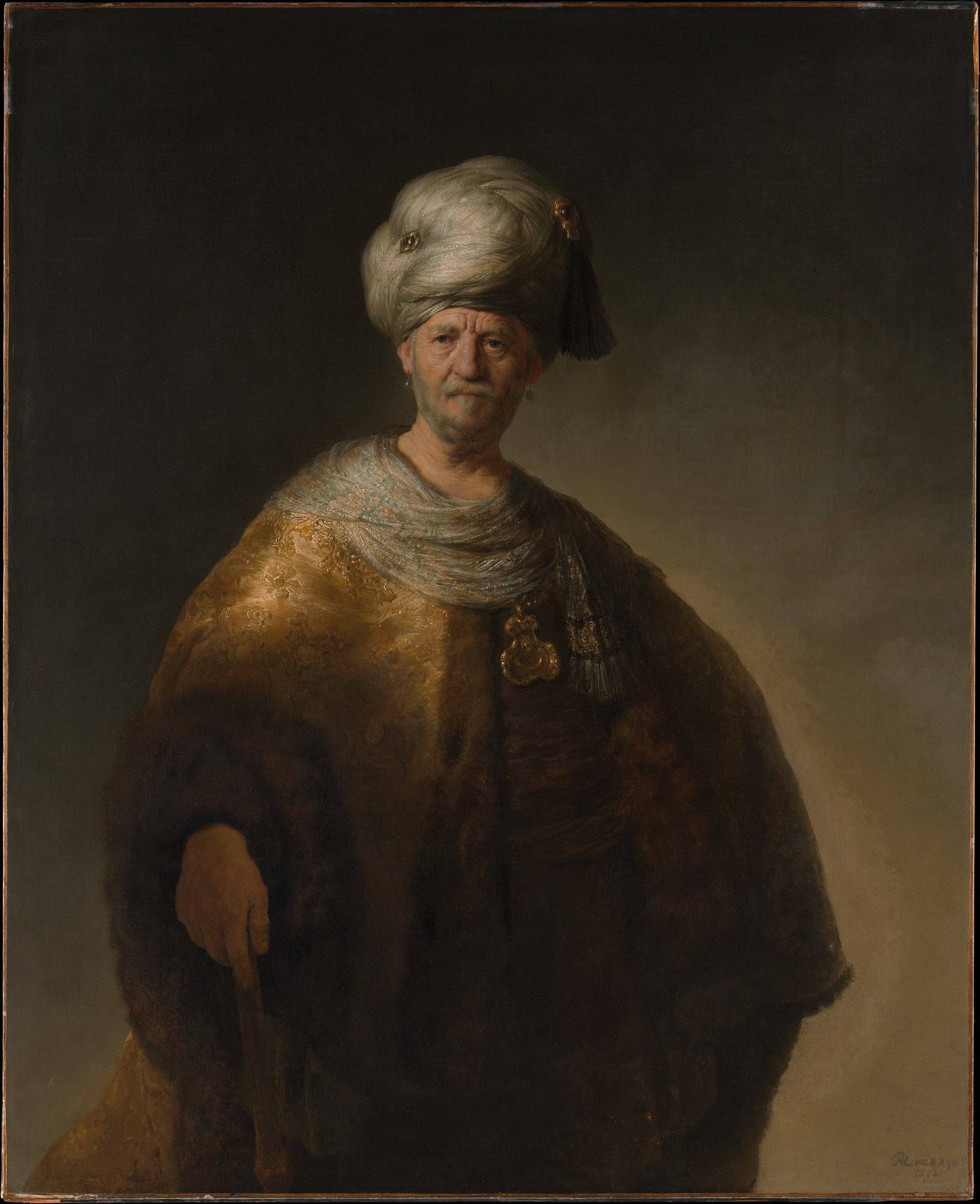 Rembrandt van Rijn, 'Man in Oriental Costume ('The Noble Slav'), 1632. Bequest of William K. Vanderbilt, 1920. Metropolitan Museum of Art, New York