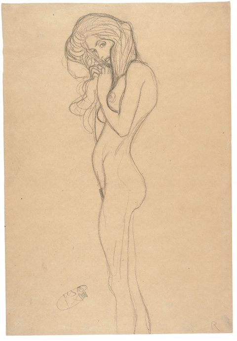 Gustav Klimt, Standing Female Nude (Study for the Three Gorgons, 'Beethoven Frieze'), 1901 Black chalk on packing paper, 45.3 x 31 cm The Albertina Museum, Vienna Exhibition organised by the Royal Academy of Arts, London and the Albertina Museum, Vienna