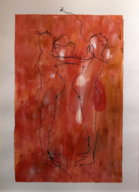 Kasia Osga: 'Mirror Image' (acrylic paint, glue and sewn thread on paper)