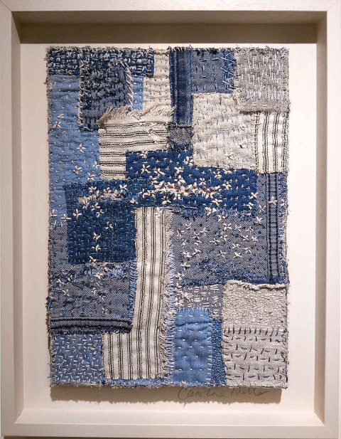 Caroline Millar: 'Tatters' (denim, linen, ticking, cotton fabric, quilting threads and MDF board)