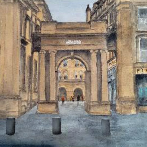 Sara James Windebank: 'Royal Exchange Square, View of Entrance, Glasgow' (Watercolour)