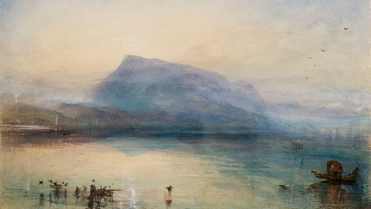 J M W Turner, 'The Blue Rigi, Sunrise', 1842. (Watercolour) Collection: The Tate