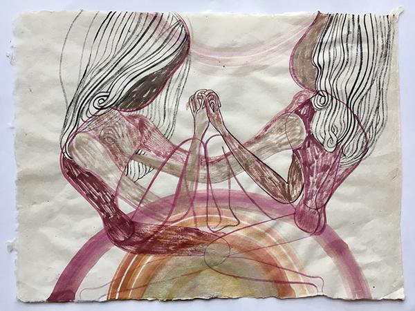 Emma Talbot: 'Gemini' watercolour on khadi paper