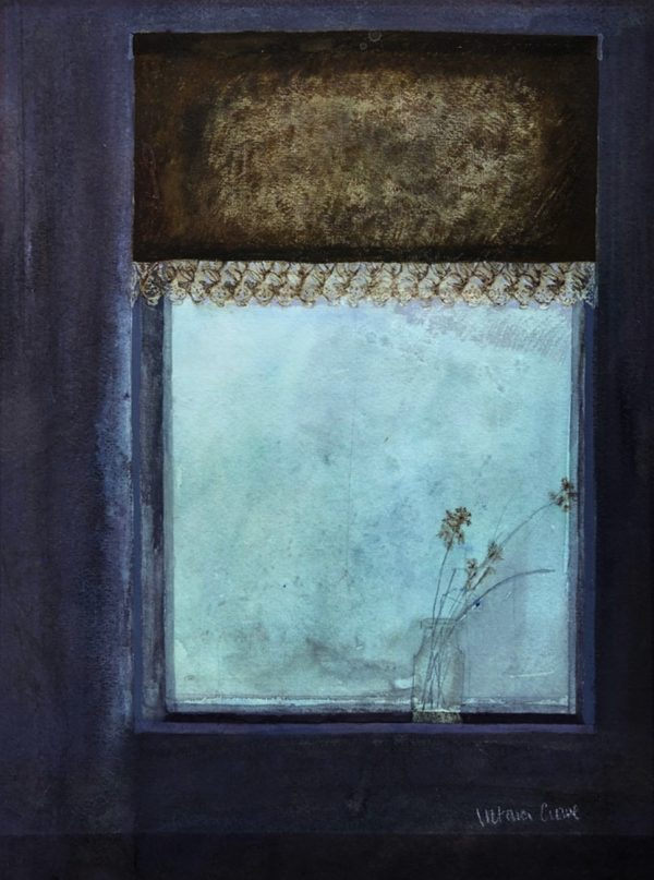 Victoria Crowe - Flowers in a Foggy Window, circa 1977, mixed media