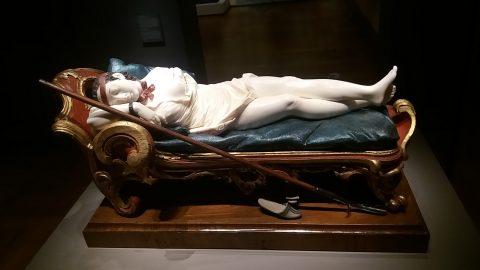 Johann Christian Ludwig von Lücke (c.1703-1780?), 'Sleeping shepherdess', ivory, wood