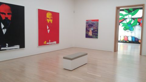 Two of Andy Warhol's Lenin portraits in the I'm A Believer display of Pop art at the Lenbachhaus
