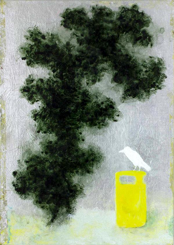Alasdair Wallace - White Crow, Acrylic on aluminium leaf over board