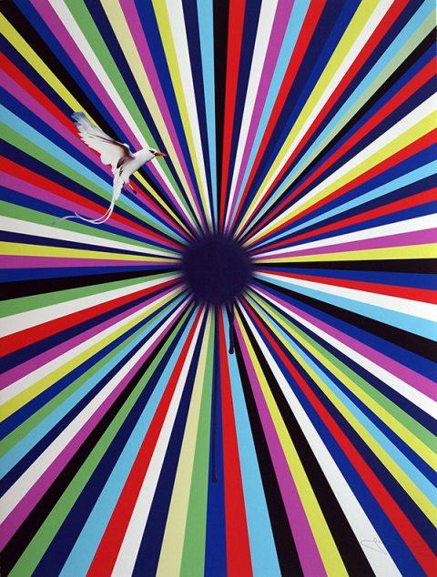 Jim Lambie, 'Sun Visor', 2014, Archival pigment print with spray paint