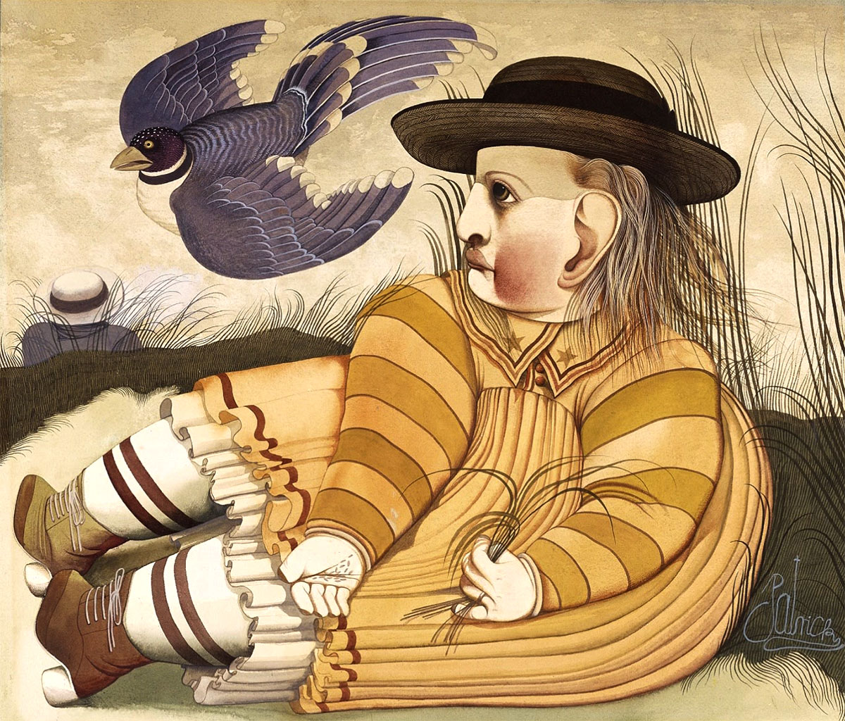 John Byrne, b 1940, Girl With Blackbird, C.1968-69 signed 'Patrick' watercolour and gouache