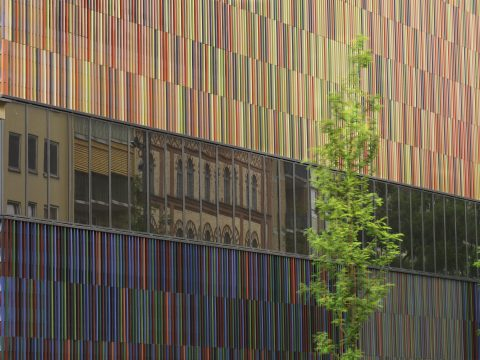 The multi-coloured facade of the Museum Brandhorst