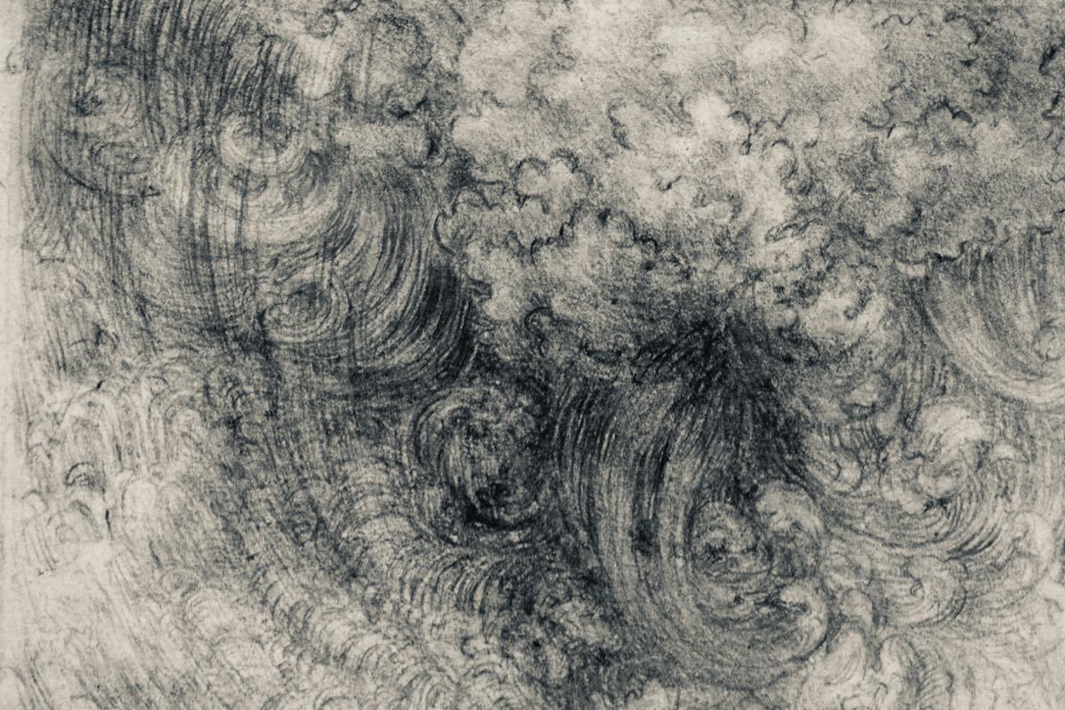 Leonardo, A Deluge, c1517-18 (detail), black chalk, some pen and ink