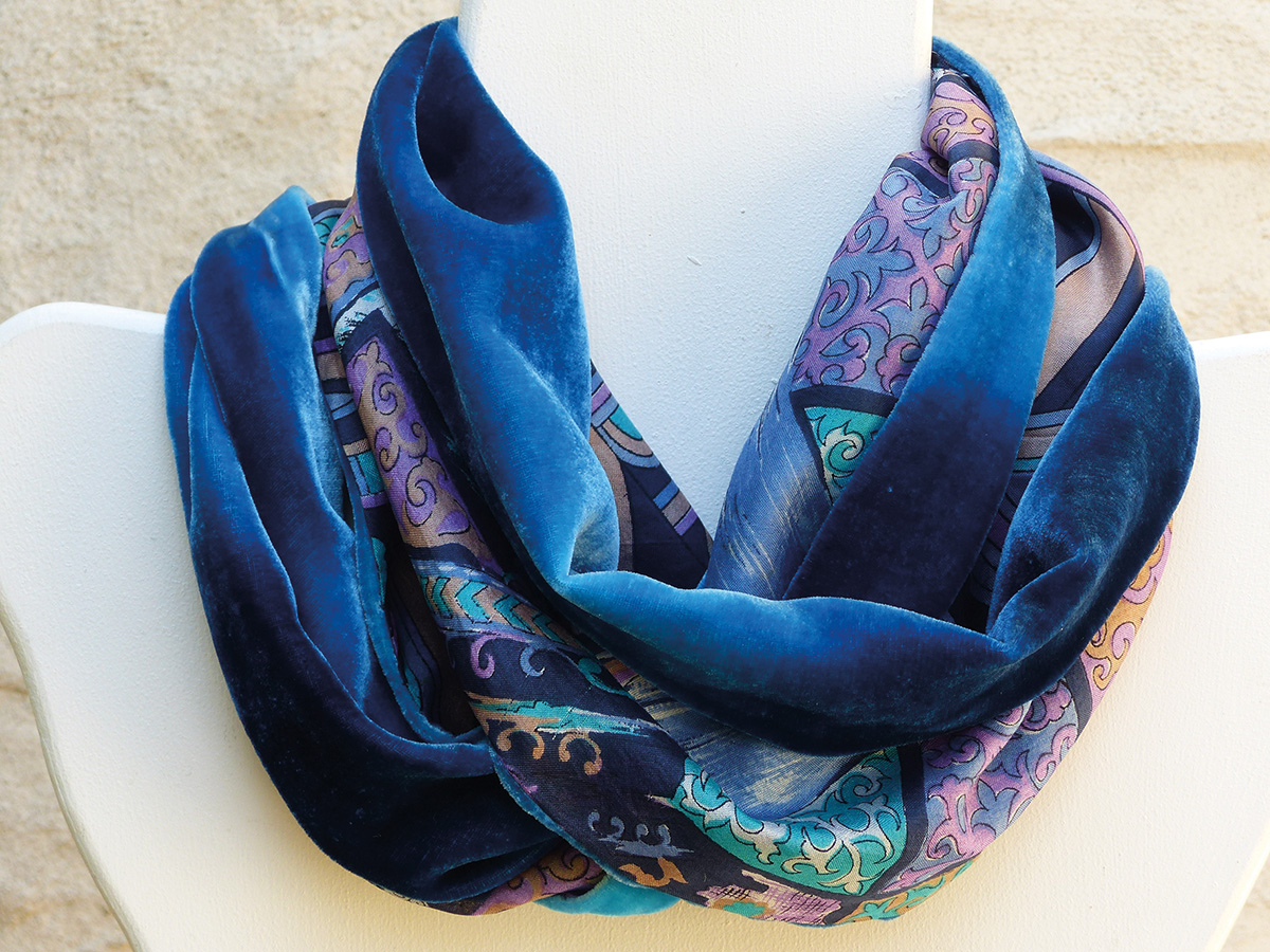Sue Elliot - Velevet and Silk Scarf