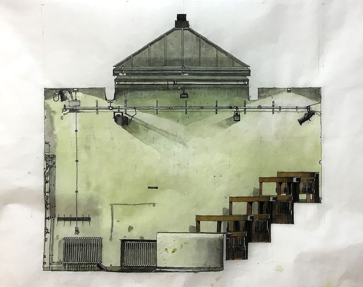 Demonstration Room, drawing and watercolour