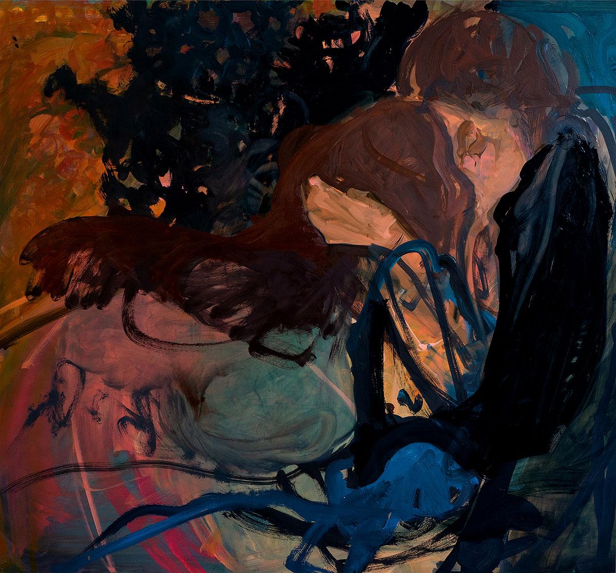 Elaine Speirs: Last Kiss, oil on board
