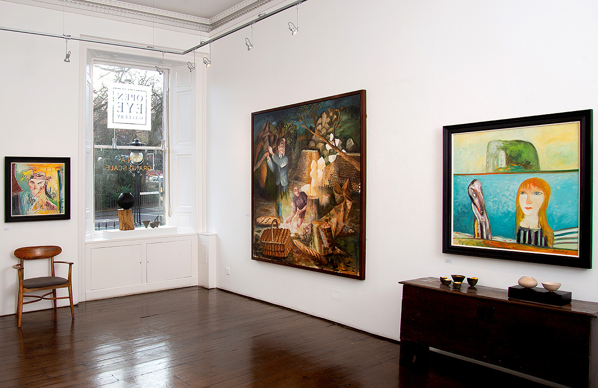Gallery view with works by John Bellany and Steven Campbell.