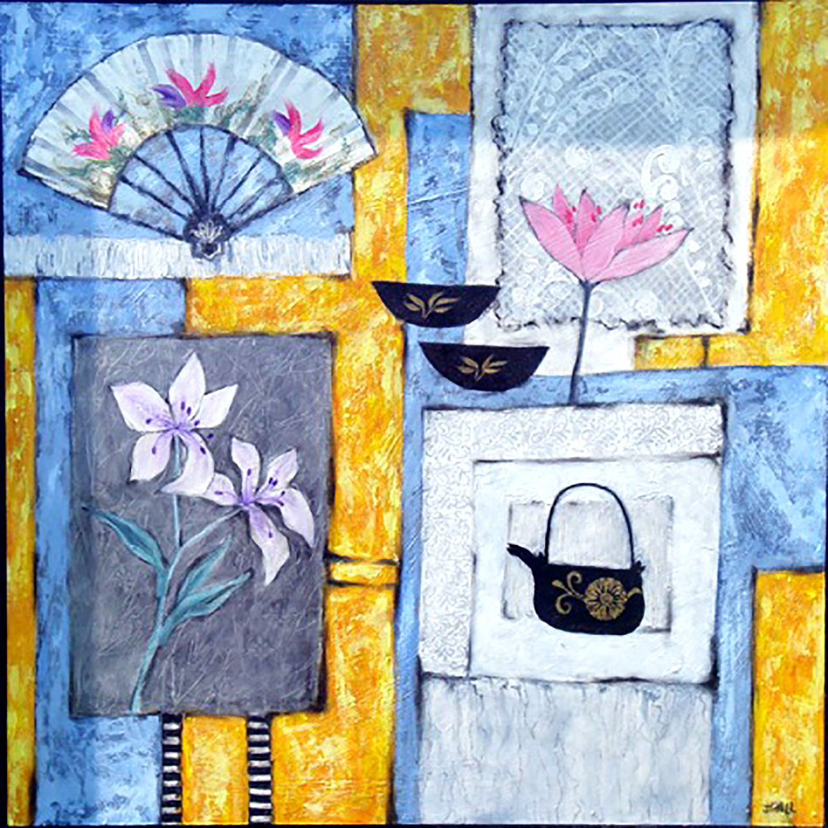 Jean Hall - Lillies, Lotus and Fan