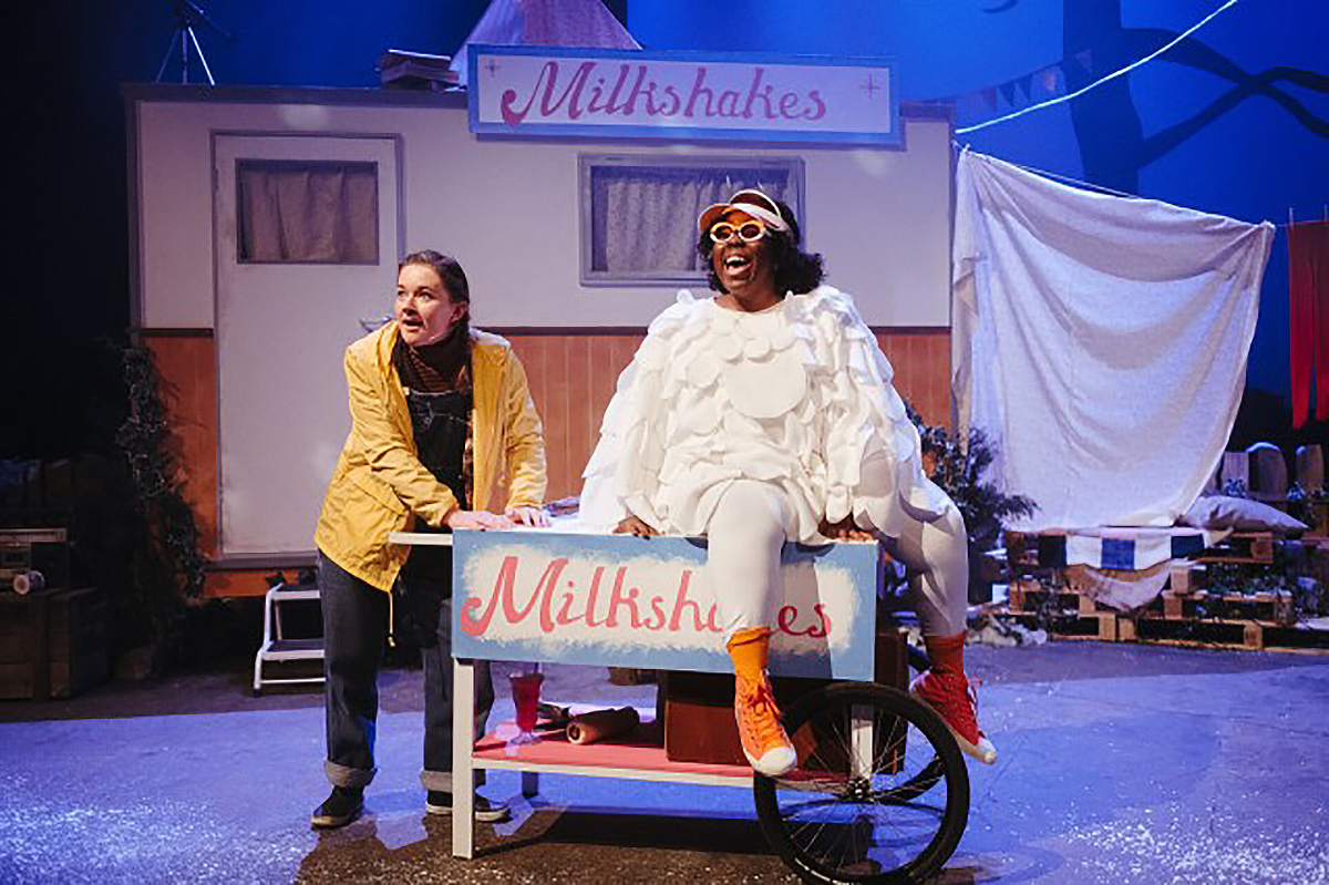 Platform: Mother Goose. L-R Amy Kennedy playing Greta and Michelle Chantelle Hopewel playing Bruce photo taken by Euan Robertson