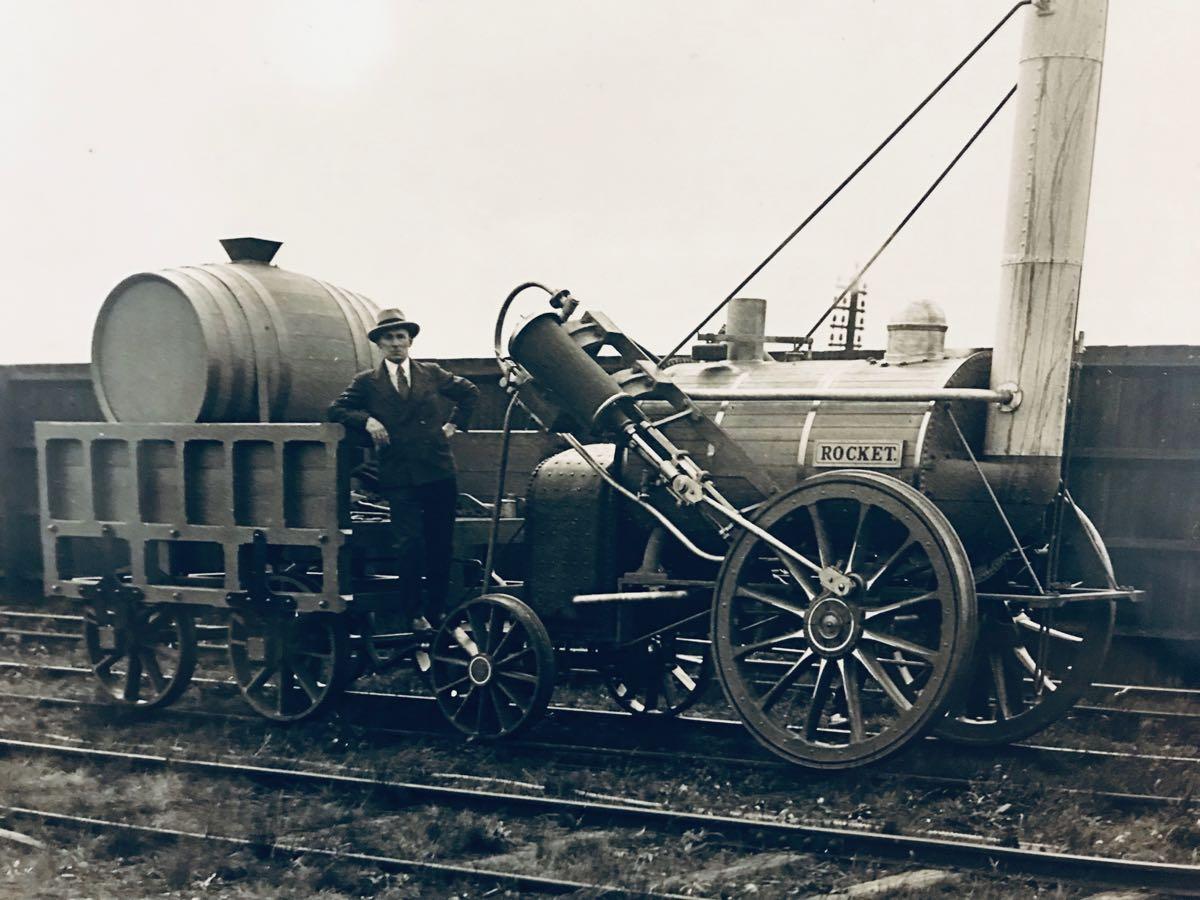 William Haig Parry, The First Steam Engine - Stephenson's Rocket, c1910, gelatin silver print