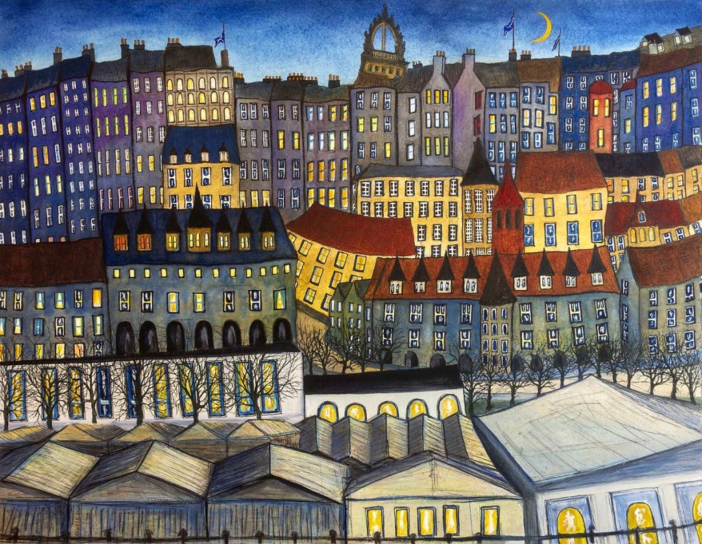 Clive Ramage - The Old Town, Edinburgh (Crescent Moon), mixed media