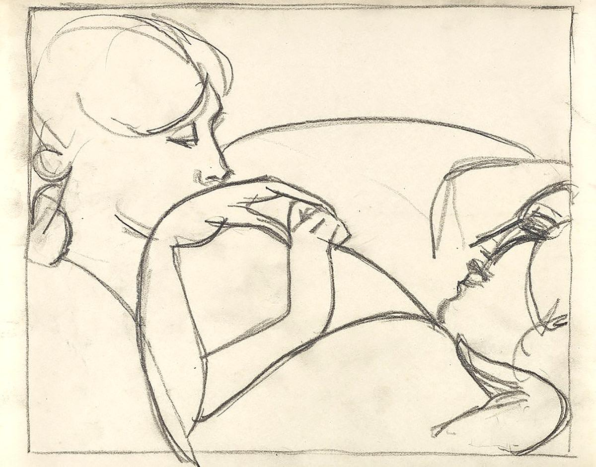 John Duncan Fergusson - Les Amis, pencil