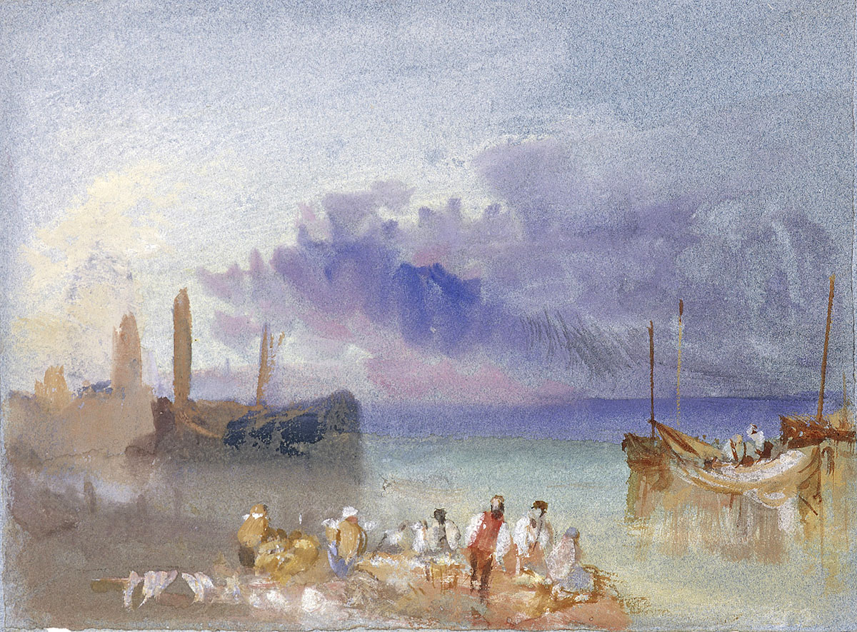 J M W Turner - Harbour View, watercolour and gouache on blue paper. National Galleries of Scotland