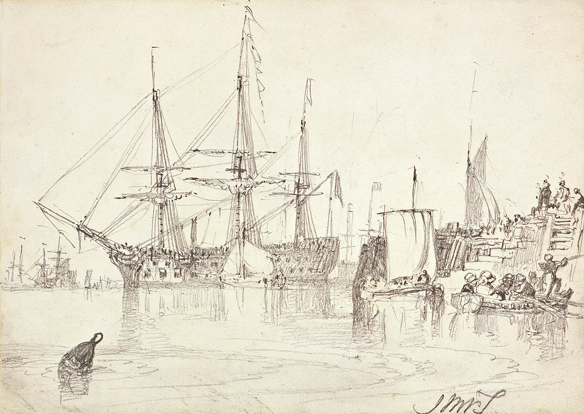 J M W Turner - Man of War, pencil on paper. National Galleries of Scotland