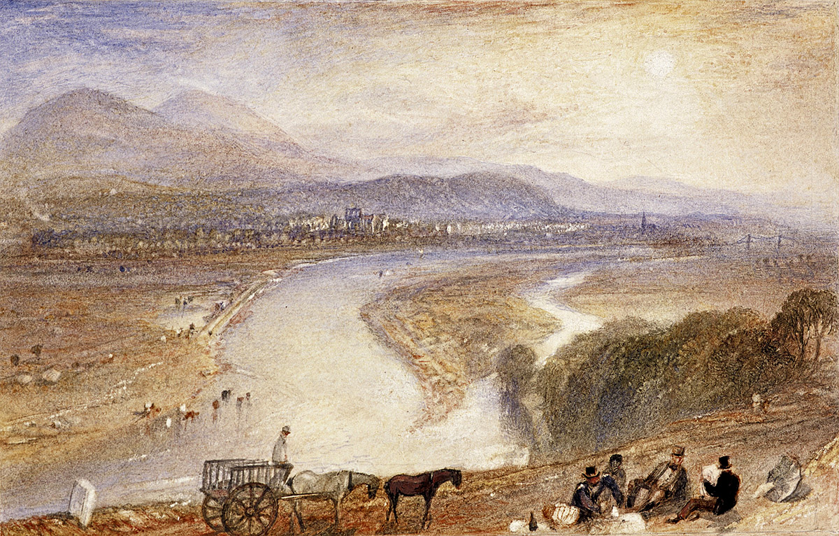 J M W Turner - Melrose, watercolour with scraping-out on paper. National Galleries of Scotland