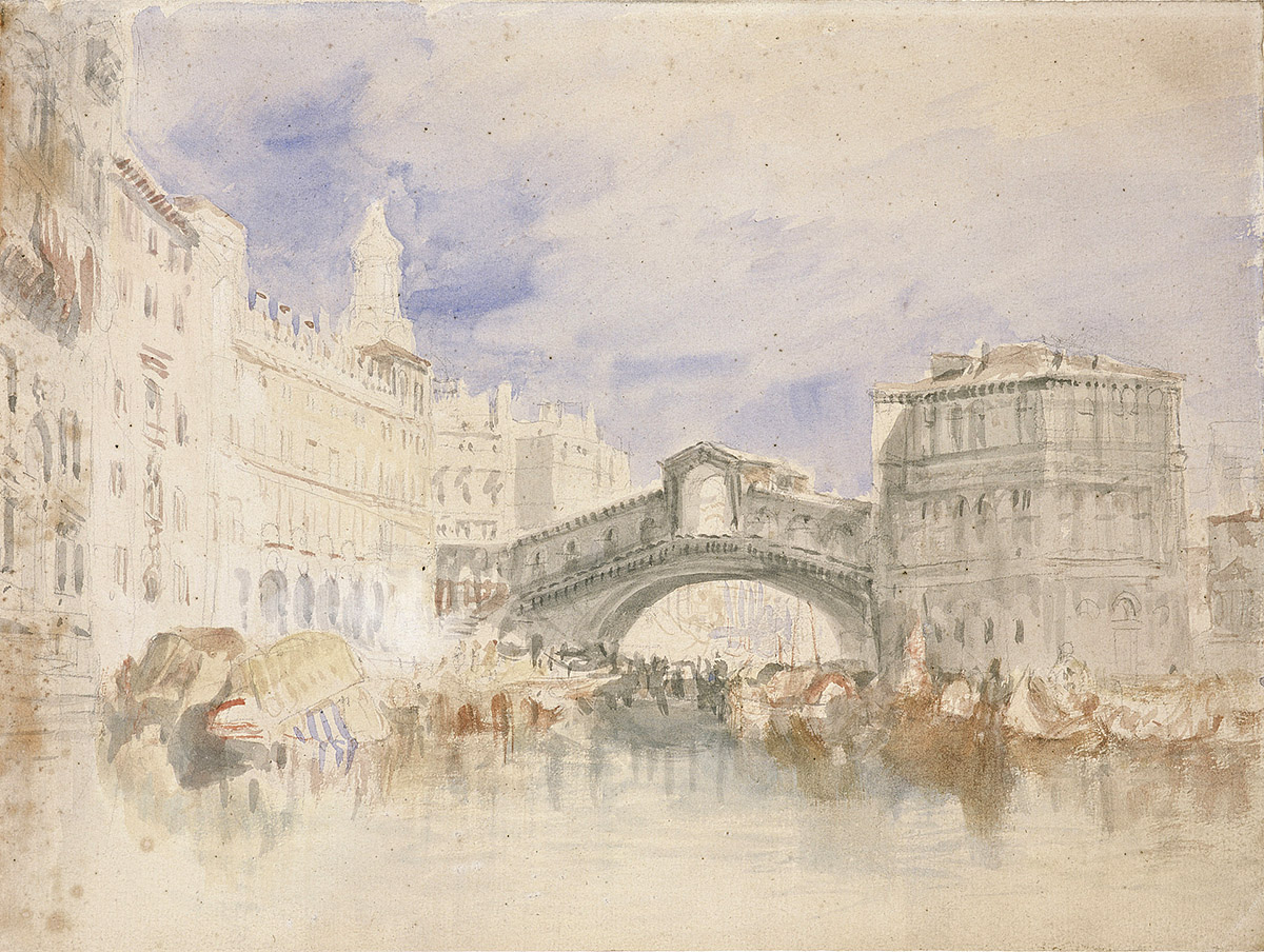 J M W Turner - The Rialto Bridge, watercolour and pencil over black chalk on buff paper. National Galleries of Scotland