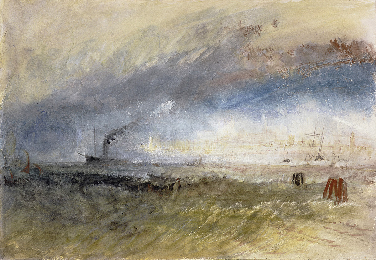 J M W Turner - Venice from the Laguna, watercolour and gouache, pen and ink and scraping-out on paper. National Galleries of Scotland