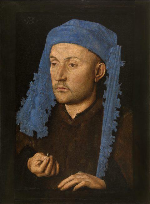 Jan van Eyck, 'Portrait of a Man with a Blue Chaperon', c. 1428-30 (Muzeul National Brukenthal, Sibiu, Romania)
