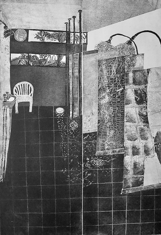 Fouzia Zafar - Water Fall, Arlington Baths, etching