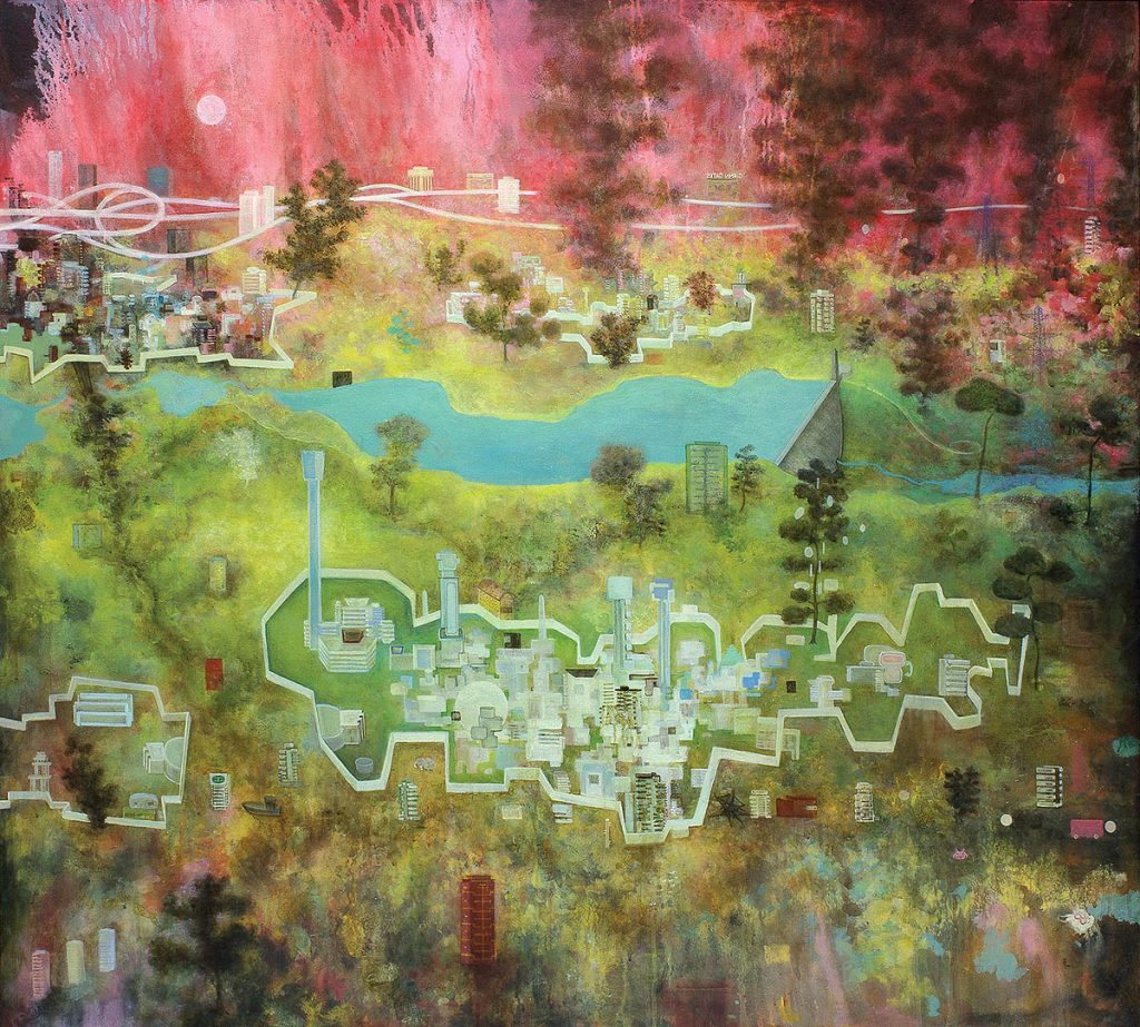 Alasdair Wallace: Walled Cities, acrylic on canvas