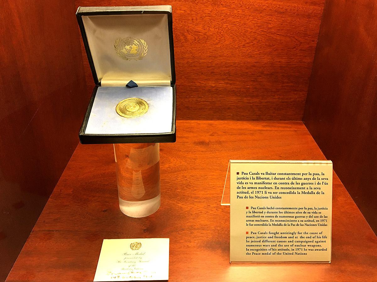UN Peace Medal awarded to Pablo Casals, 1971, Museum Pau Casals, El Vendrell
