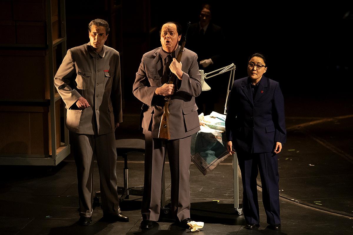 Nicholas Lester (Chou En-lai), Mark Le Brocq (Mao Tse-tung) and Hye-Youn Lee (Madame Mao Tse-tung). Scottish Opera 2020. Credit James Glossop.