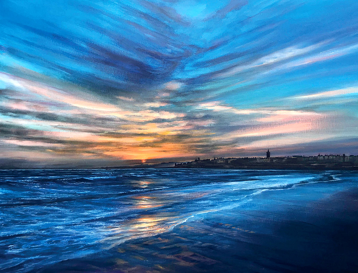 Catriona MacEachen: Sunrise From West Sands St Andrews, oil on canvas