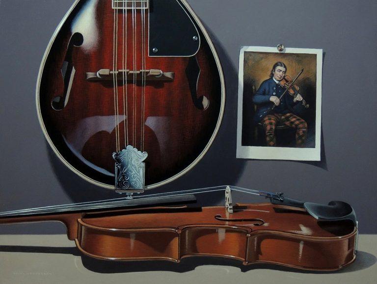 Brian Henderson - Strings, acrylic on board