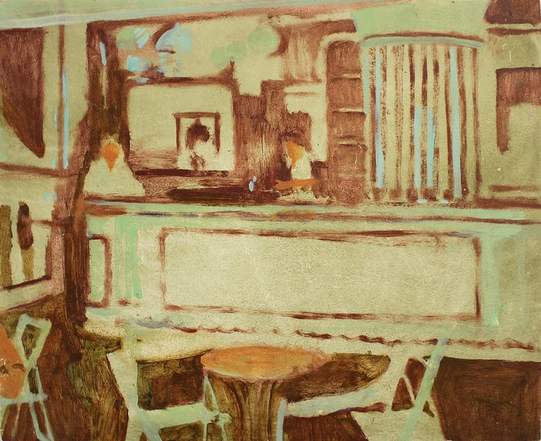 Charlie Yates - Cafe del Mar, oil on board