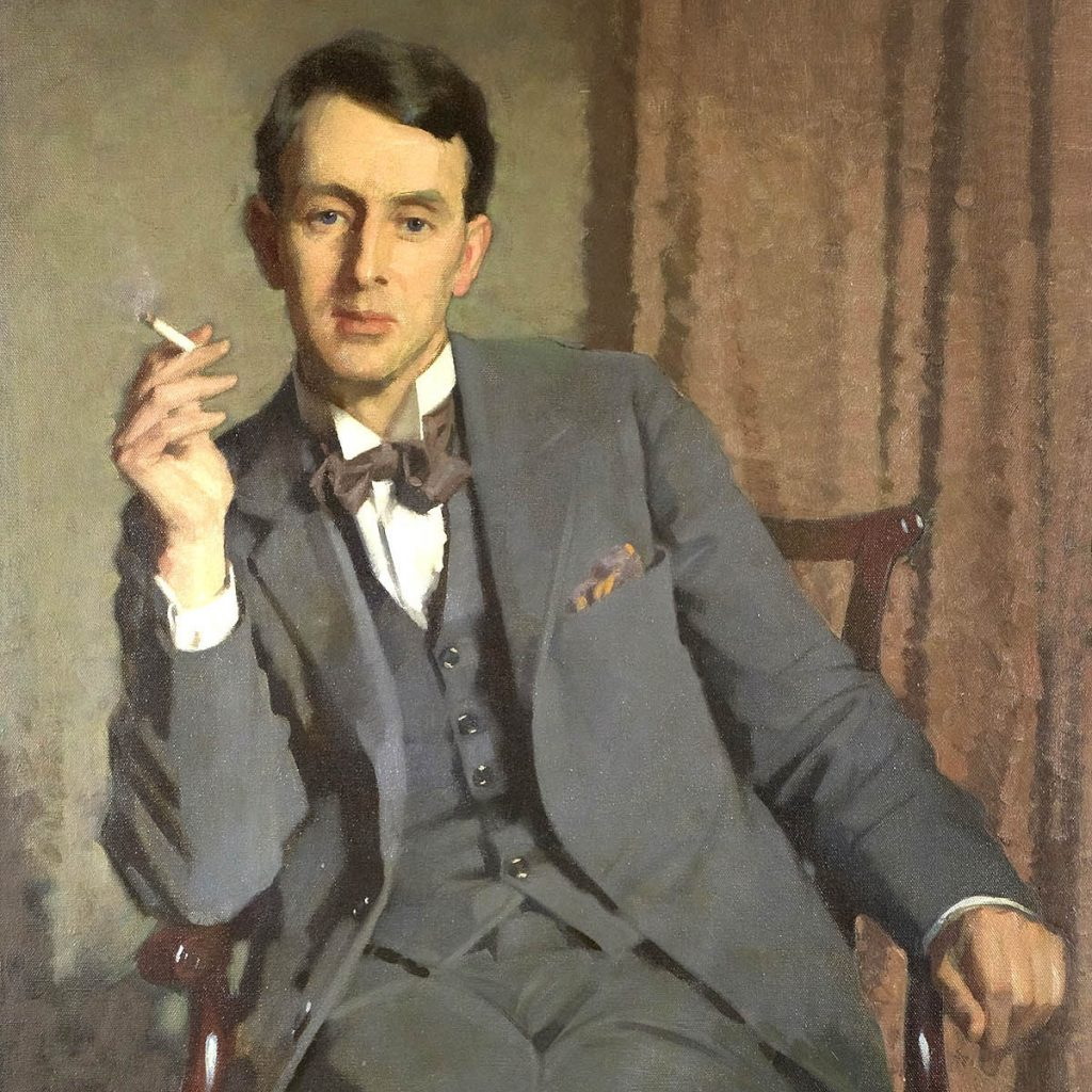 Poster showing John Macdonald Aiken, Portrait of Francis Cooper seated smoking cigarette, 1929, oil on canvas, University of Dundee Museum Collections