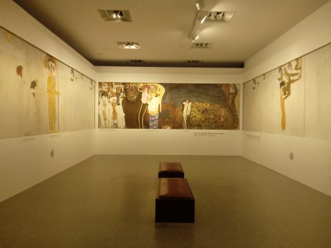 The exhibition includes a full scale replica of Gustav Klimt's 'Beethoven Frieze'.
