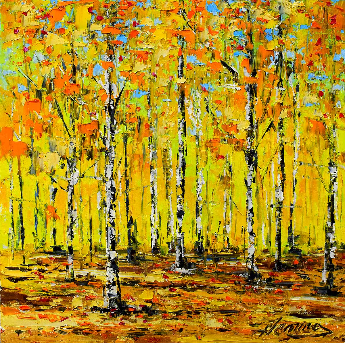 Kevin Fleming - Golden Birch Thicket, Tummel Bridge, canvas