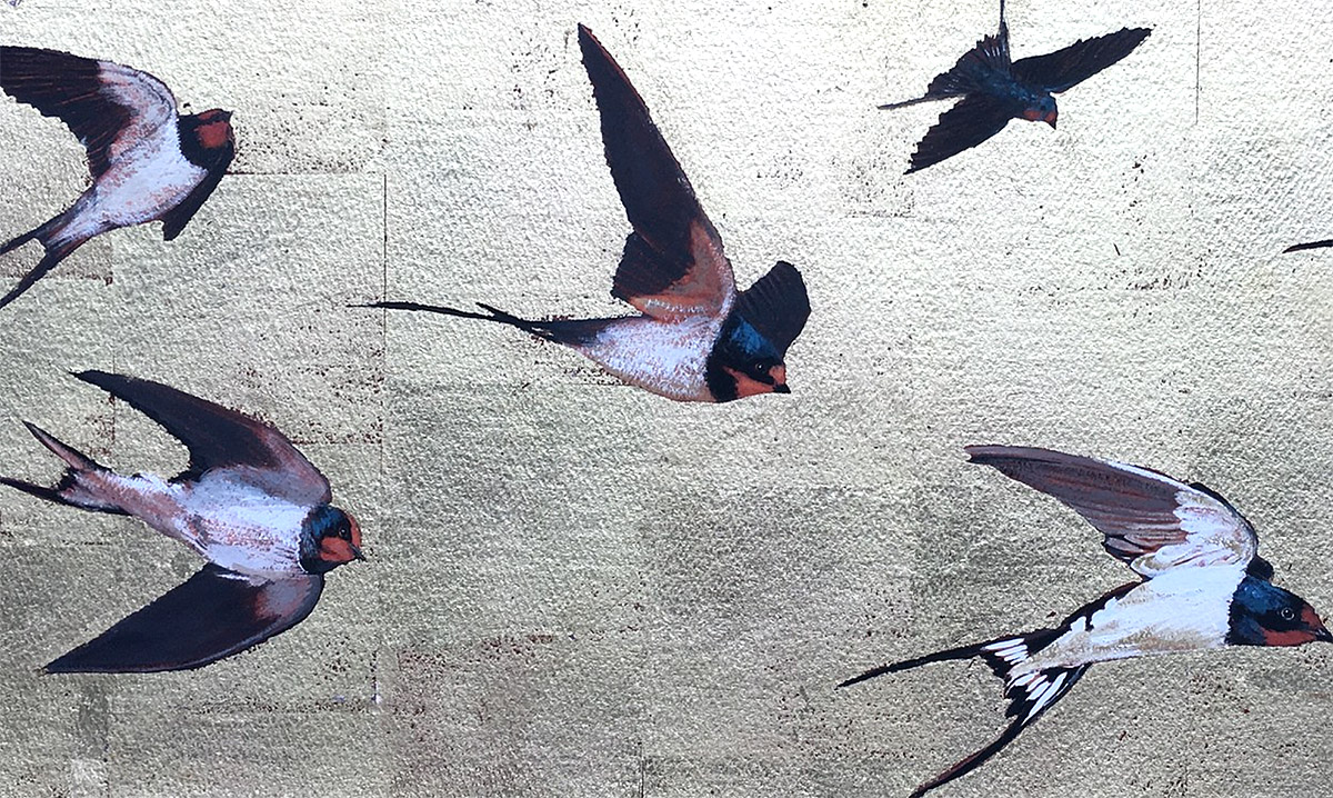 Lindsay Keir - Swallows on Gold, acrylic on board with gold leaf