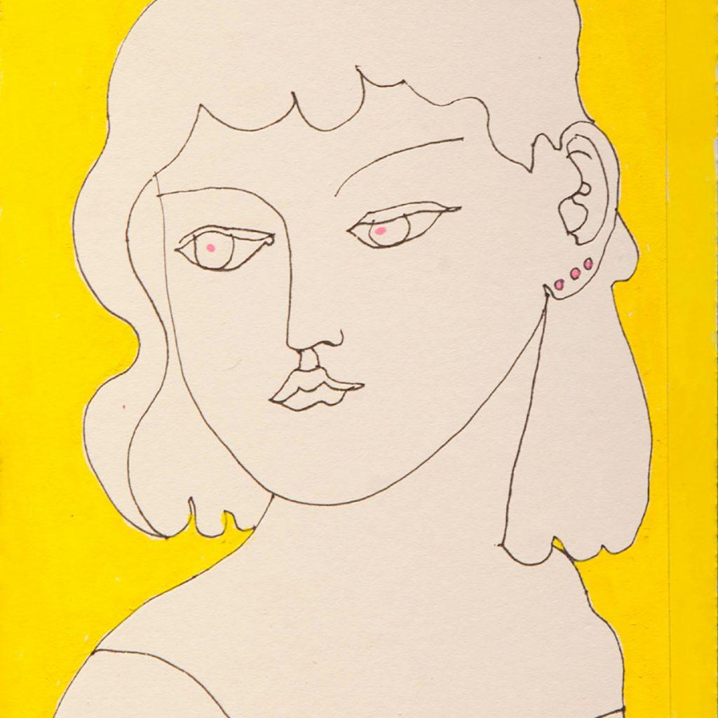 Adrian Wiszniewski - Reading French, ink and acrylic on paper/card