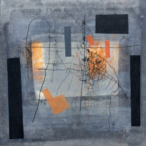 Aileen Keith - Flux 4, oil paint, pencil, collage