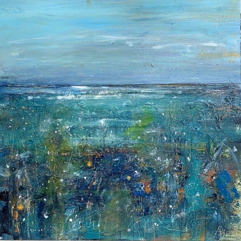Andy Heald - Winter Wave & Grass Gullane, mixed media on board