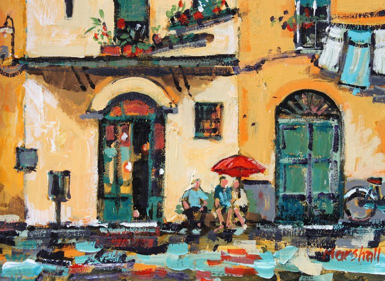 David Marshall - Summer shower Lucca, acrylic
