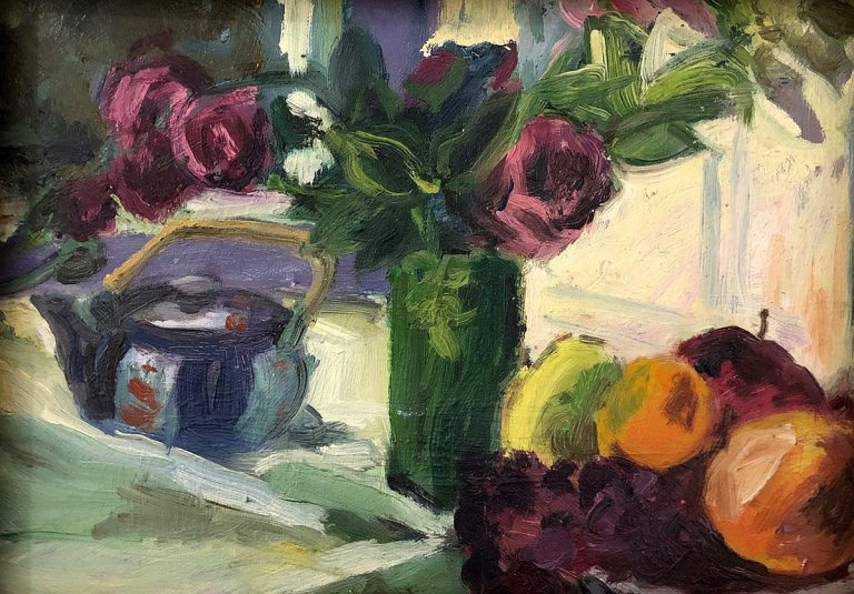 David Parker - The Green Vase, oil on board