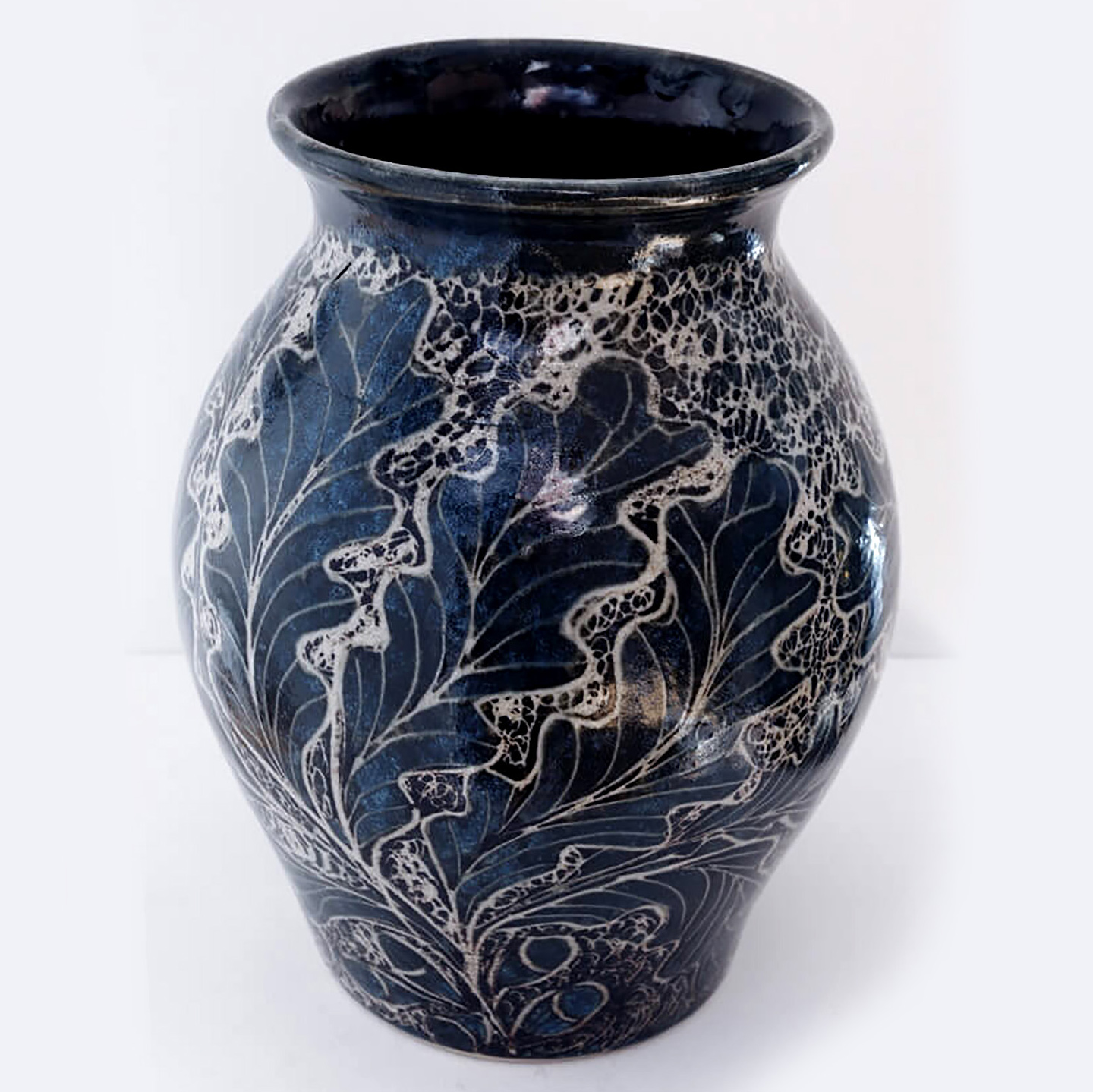 John M Egerton - Oak leaves vase Sq