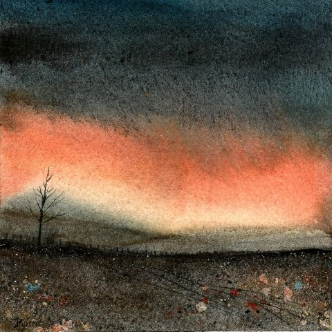 Julie Morris - Darkness, watercolour and gold ink on paper