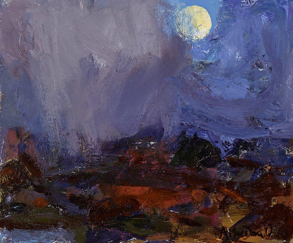 Moon Glimpse, Way Home by Allan Macdonald, Oils